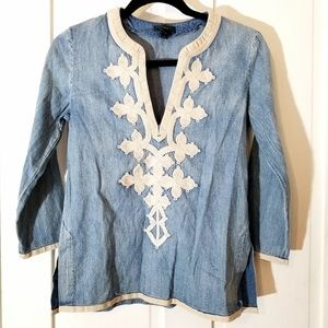 J Crew Denim Chambray Applique Tunic Blouse Top